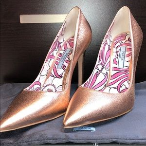 Prada metallic rose gold pumps